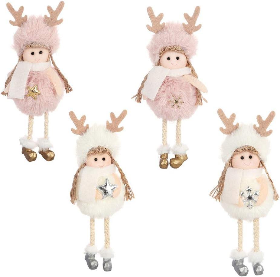 Homeofying Christmas Plush Angel Girl Star Snowflake Hanging Tree Home Party Window Decor Christmas Tree Hanging Pendants Drops Finals Decor Xmas Party Ornament Pink Snowflake #