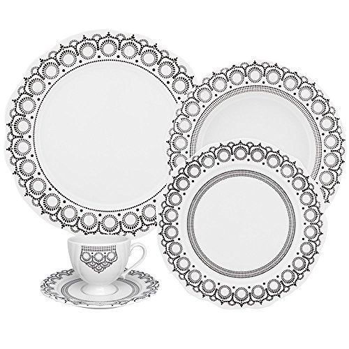- Oxford Soleil Henna 42 Piece Porcelain Dinnerware Set, White