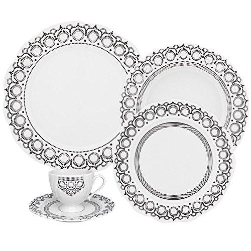 Oxford Soleil Henna 42 Piece Porcelain Dinnerware Set, White