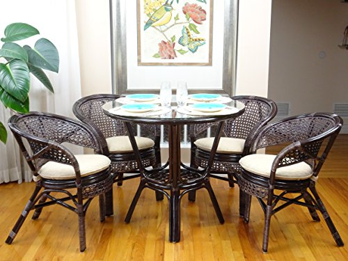 5 Pc Pelangi Rattan Wicker Dining Set Round Table Glass Top + 4 Arm Chairs. Dark Brown (Round Glass Top Dinette)