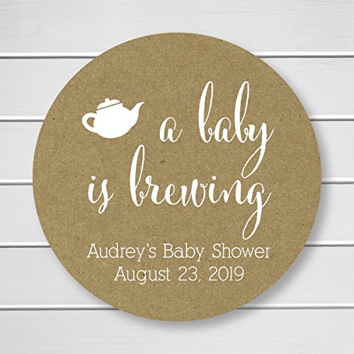Baby is Brewing White Ink on Kraft Shower Coffee or Tea Favor Stickers (Baby Brewing Shower Favors)