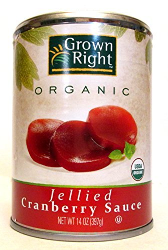 Grown Right Organic Jellied Cranberry Sauce (Pack of 3) 14 oz Cans