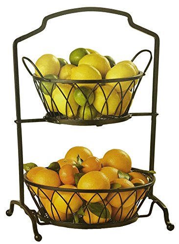 (Wrought Iron Two Tier Buffet Stand or Food Storage Stand With Removable Baskets)