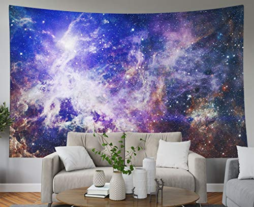 Shorping Blue Tapestries, 80x60Inches Hanging Wall Tapestry for Décor Living Room Dorm Creative Background Starfield Stardust and Nebula Space with Bright Shining Stars Elements of
