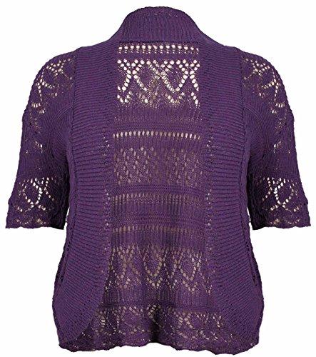 Bolero de punto para mujer, diseño abierto, manga corta, talla grande morado