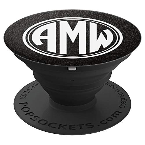 9b09d391e671 AMW Monogram Pop Socket Initials AMW or AWM on Black - PopSockets Grip and  Stand for