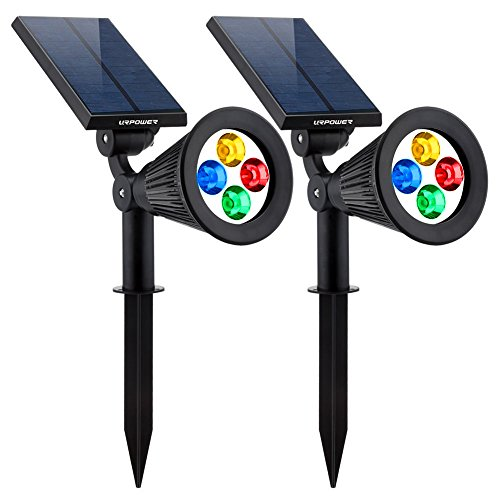 Changing Solar Garden Light (URPOWER Solar Lights 2-in-1 Solar Powered 4 LED Adjustable Spotlight Wall Light Landscape Light Bright & Dark Sensing Auto On/Off Security Night Lights for Patio Yard Stairs Pool (Changing Color) (2))