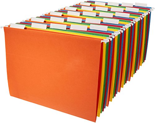 AmazonBasics Hanging File Folders - Letter Size (25 Pack) - Assorted (Cut Colored Hanging File Folders)