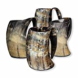 AleHorn – The Original Handcrafted Authentic Viking Drinking Horn Tankard for Beer, Mead, Ale – Medieval Inspired Stein Mug – Food Safe Vessel with Handle (Large 4PK, Natural Horn)