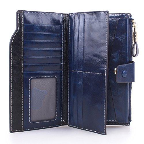 Artmi Damen Portemonnaie Große Kapazität Luxus Kartenhalter mit Reißverschluss Pocket und ID Fenster Mehrfarbig Dunkelblau Carry-On Dunkelblau kYGoNNhg