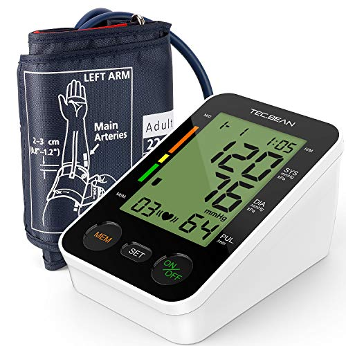 TEC.BEAN Blood Pressure Monitor Cuff Kit with Large LCD Display and Heart Rate Detection, FDA-Certified