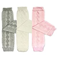 Bowbear 3 Pair Little Girls Cable Knit Argyle Leg Warmers, White, Pink and Gr...