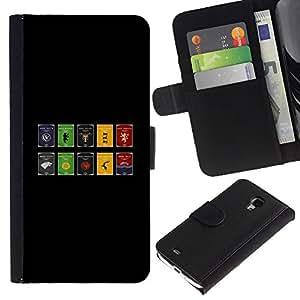 LECELL--Cuero de la tarjeta la carpeta del tirón Smartphone Slots Protección Holder For Samsung Galaxy S4 Mini i9190 -- Juego De Thron Sygils --