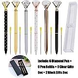 Outgeek 6PCS Big Crystal Diamond Pen Bling Metal Ballpoint Pen Office Supplies with Black Ink Pen Refills for Women Coworkers Teachers Girls