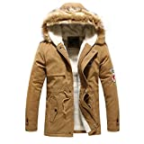 Hee Grand Men's Faux Fur Long Winter Trench Jacket Coat Hooded Parka Chinese