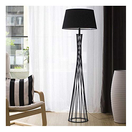 (ZCYX Floor Lamp Fashion Creative Personality Wrought Iron Floor Lamp Bedroom Bedside Living Room Decoration Vertical Floor Lamp -8754Floor Lamps (Color : Black))