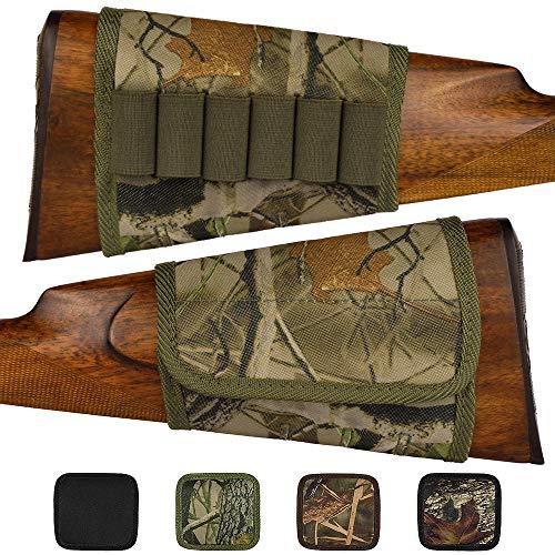 BronzeDog Adjustable Buttstock Rifle Cartridge Ammo Holder 12 16 Gauge Nylon Camo Shell Holder Hunting Rest Pouch Bag Stock Right Handed Shotgun (Green Oak Camo)
