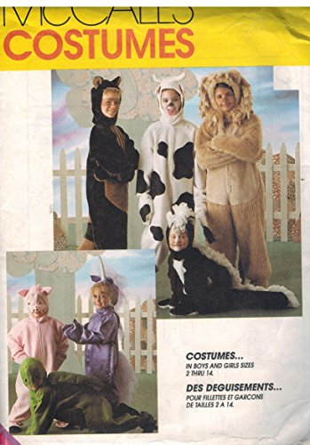 (7849 McCalls Sewing Pattern Uncut Girls Child Halloween Costume Lion Cow Turtle Pig Unicorn Raccoon Skunk Size Extra Small)