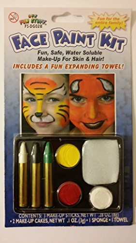 Halloween 5-Color Face Painting Kits - Fun Safe Water Soluble Make-Up For Skin And Hair (White-Black-Green-Yellow-Red)
