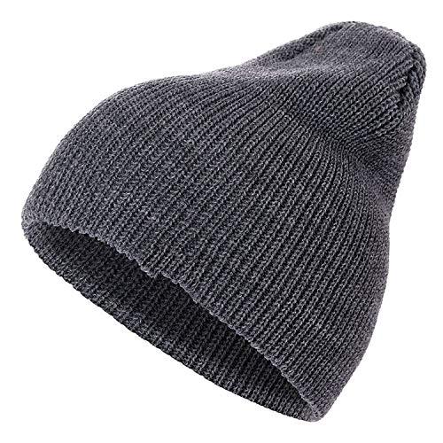 1 Pcs Hat PU Letter True Casual Beanies for Men Women Warm Knitted Winter Hat Fashion Hat,Dark -