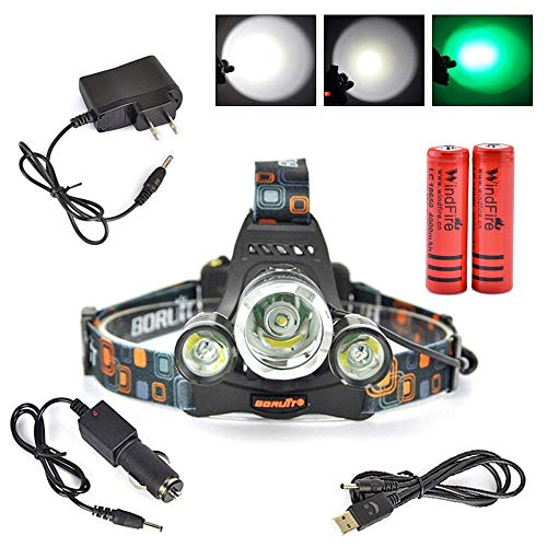 (WindFire 3X CREE LED High Power Head Light -Green Hunting Headlight - Rechargeable & 4 Mode- Perfect Night Vision Headlamp For Astronomy, Aviation, Detector)