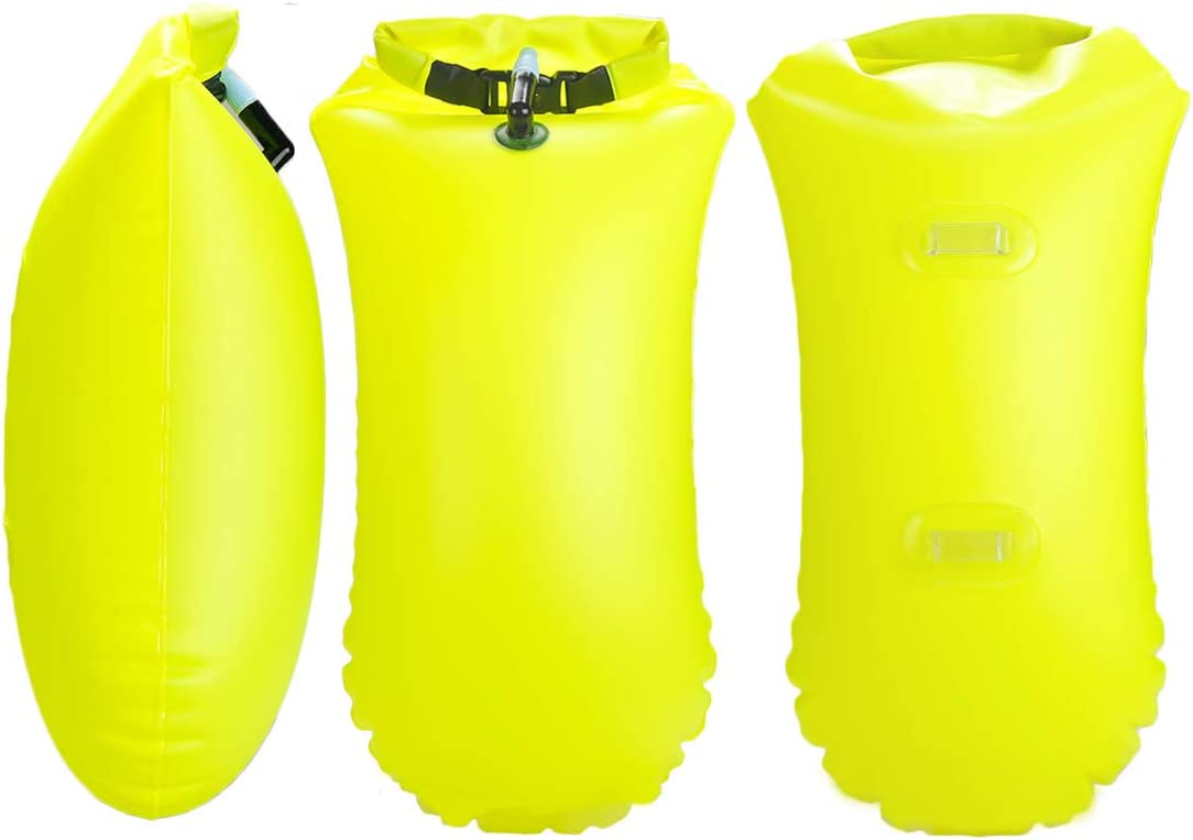 Kayakers and Snorkelers Triathletes X.Store 2 Pack 20L Waterproof Swim Bouy with Storage Space Inflatable Dry Bag Bright Color Swim Safety Float for Open Water Swimmers