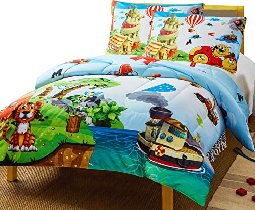 Utopia Bedding All Season Super Soft Jungle Theme Animals Kids Comforter Set - 3 Piece Toddler Bedding Sets for Boys - Twin/Twin XL