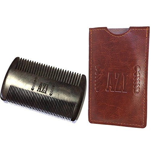 Azi's Black Sandalwood Beard Comb – Hypoallergenic, Anti-Static Great for Head Hair, Beard & Mustache – Double Sided Fine & Coarse Teeth With Protective Carrying Case