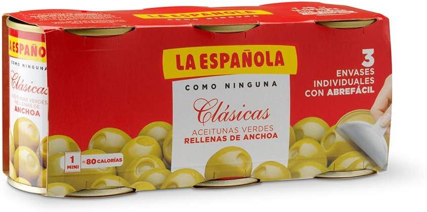La Española - Clásicas - Aceitunas Verdes Rellenas De Anchoa - 3 x 120 g