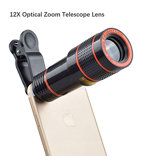 Cell Phone Camera Lens, 12X Zoom Telephoto Universal Clip On Lens Kit for iPhone 7/6S/6 Plus/5/4,Samsung, Android and Other Phones (Iphone Camera Lens)