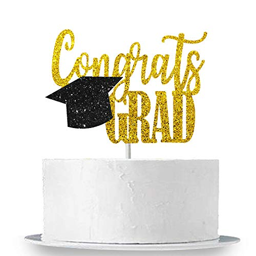 Congrats Grad Cake Topper for Grad Party - Real Black and Gold Glitter | Graduation Party Cake Toppers 2019 - Graduation Cap Cake Topper Decorations | Graduation Party Supplies 2019 -