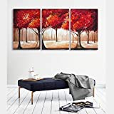 wall26 - 3 Piece Canvas Wall Art - Abstract Red Leaves Trees - Watercolor Painting Style Modern Home Decor - 16''x24''x3 Panels