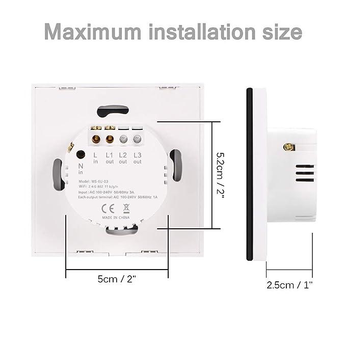 Neutralleiter erforderlich OurLeeme Wi-Fi Touch Wandlichtschalter 3 Gang, Schwarz WiFi Touch-Fernbedienung Sprachsteuerung Zeitschaltuhr kompatibel mit Alexa Google-Startseite