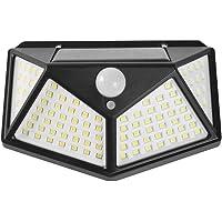Luz Solar Exterior 100 LED【Calidad Precio 1200mAH Placa Solar】Foco solar con PIR Sensor de Movimiento Inalámbrico…