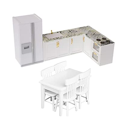 magideal 112 dollhouse kitchen furniture table chairs cooking bench refrigerator - Dollhouse Kitchen