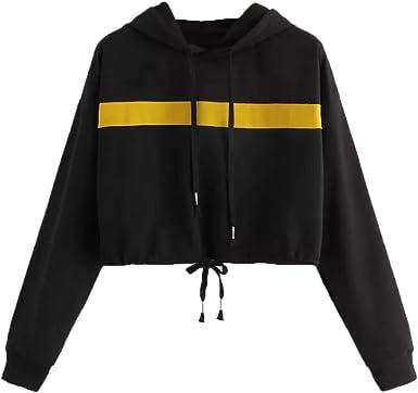 Sudadera corta con capucha para mujer, con cuerdas de música