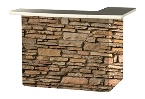 Best of Times 2000W2406 Rock Wall Portable Patio Bar Table, One Size, L-Shaped, Brown ()