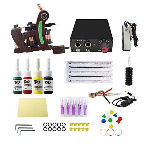 Wormhole Complete Tattoo Kit for Beginners Tattoo Power Supply Kit 4 Tattoo Inks 5 Tattoo Needles 1 Pro Tattoo Machine Kit Tattoo Supplies CD007