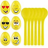 iBaseToy Egg and Spoon Race Game, 6PCS Wooden Spoons & Eggs for Fun Easter Games - Easter Egg Games for Easter Party Favor, Birthday Party Games, Emoji Easter Egg Hunt Games for Kids and Adults