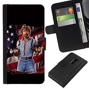 All Phone Most Case / Oferta Especial Cáscara Funda de cuero Monedero Cubierta de proteccion Caso / Wallet Case for LG G2 D800 // Tough Man Usa America Flag Series Gun