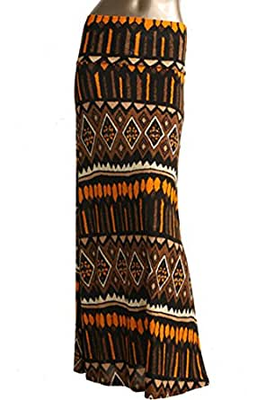 Azules Women's Stretchy Slinky Fabric Maxi Skirt (Small, D96 Aztec-Brown)
