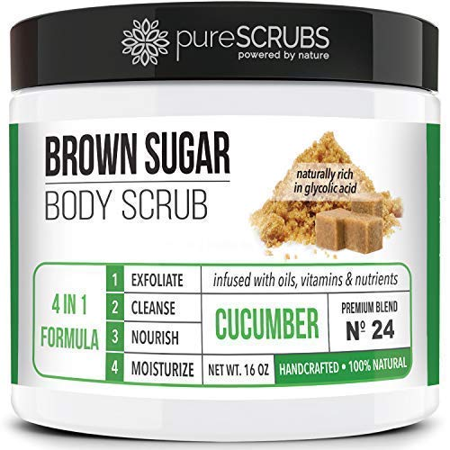Premium BROWN SUGAR Body Scrub Exfoliating Set - Large 16oz CUCUMBER SCRUB For Face & Body, Infused Organic Essential Oils & Nutrients + FREE Wooden Stirring Spoon, Loofah & Mini Exfoliating Bar Soap