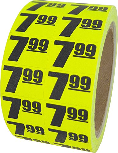 $7.99 In-Store Use Day-Glo Yellow Display Labels 3/4