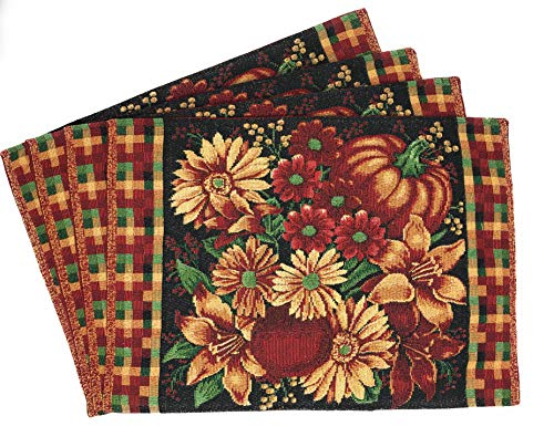 DaDa Bedding Fall Harvest Thanksgiving Pumpkin Placemats - Set of 4 Floral Autumn Tapestry - Cotton Linen Woven Dining Table Mats - 13