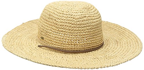 SCALA Women's Big Brim Raffia Hat with Leather Chin Cord, Natural, One Size
