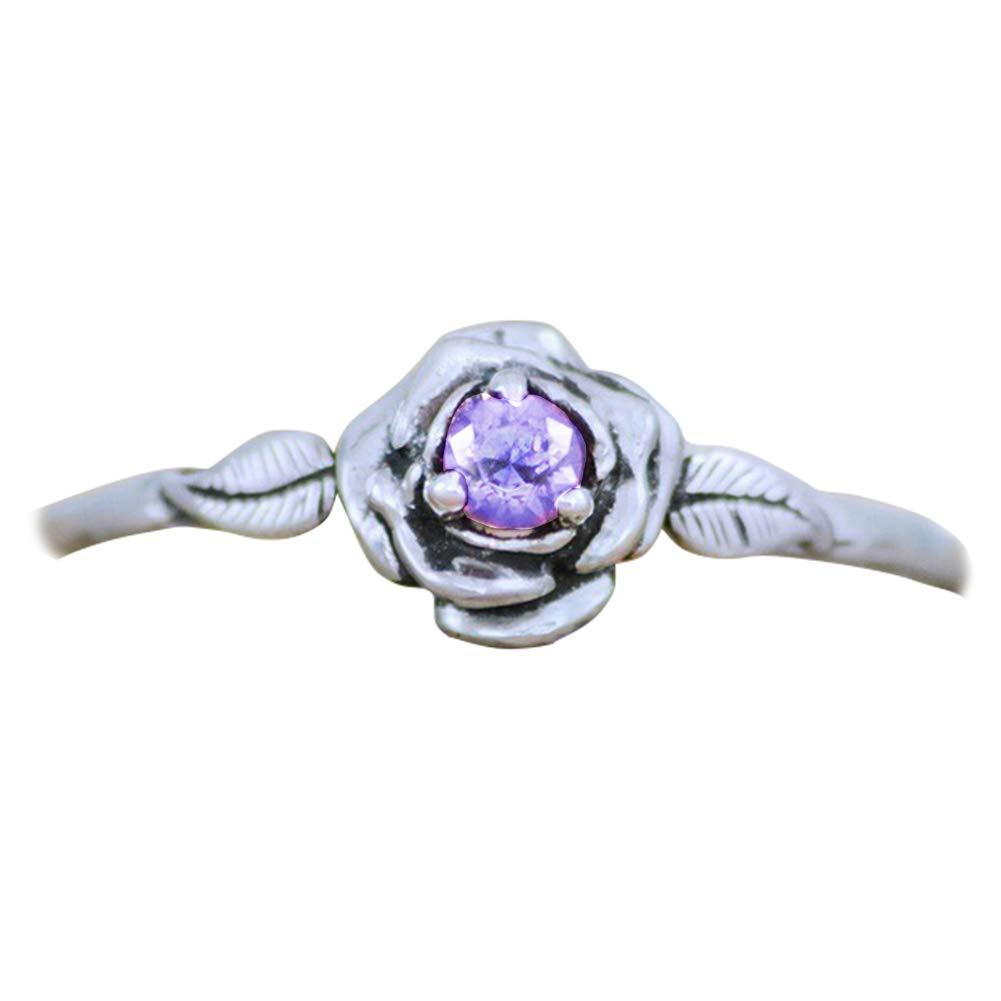 AkoMatial Fashion Rings, Rose Flower Faux Gem Women Vintage Slim Band Wedding Party Engagement Ring Gift - Purple US 6