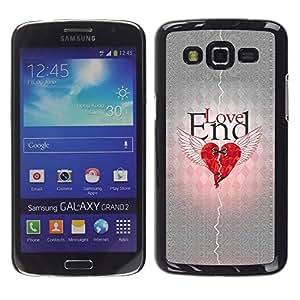 TECHCASE**Cubierta de la caja de protección la piel dura para el ** Samsung Galaxy Grand 2 SM-G7102 SM-G7105 ** Love Heartbreak Quote Broken Heart Wings