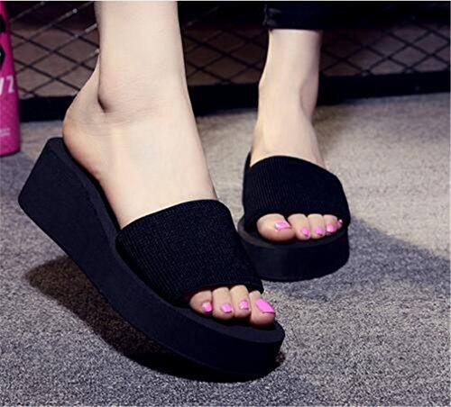 Summens Femmmes Tongs Noir sandales des Flops Neuf pente avec RRqWSdr8H