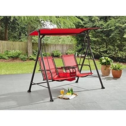 Patio Swing, Outdoor, 2 Seat,Bungee,Durable,Red