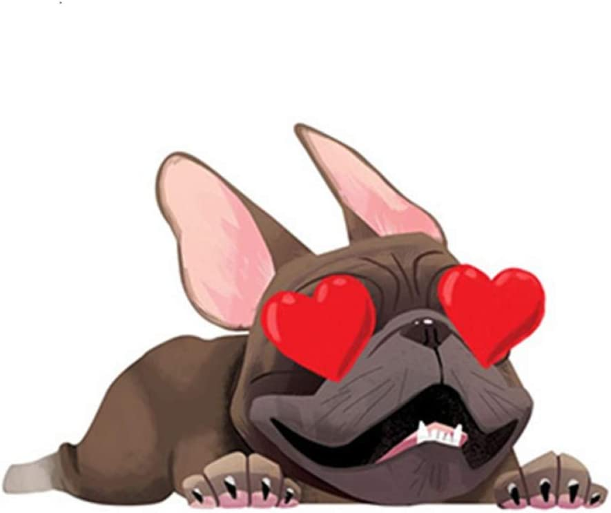 LZKUKZSA Etiqueta del Coche 13 cm x 8,3 cm mostrando Amor Etiqueta engomada del Bulldog francés calcomanía de la Ventana del Coche Pegatinas Divertidas del Coche Dibujos Animados Mascota Perro es
